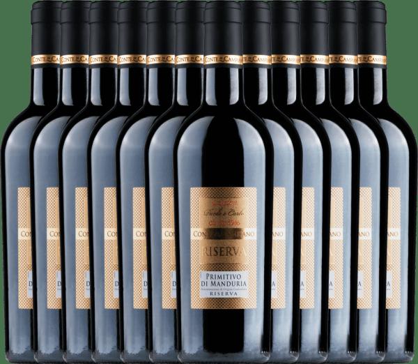 12er Vorteils-Weinpaket - Primitivo di Manduria Riserva DOC 2017 - Conte di Campiano